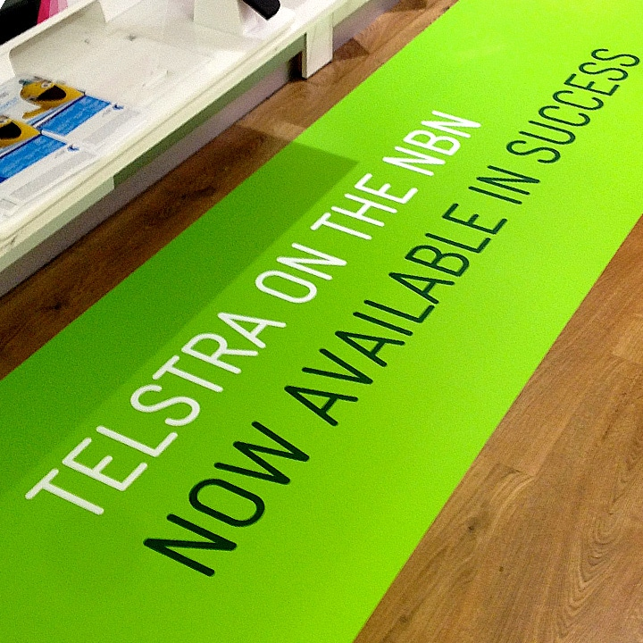 Perth Sign Installers: Telstra Floor Print in Success, Perth, Western Australia