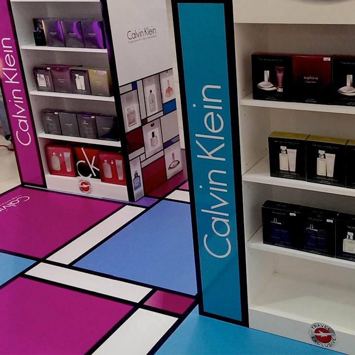 Perth Sign Installers: Calvin Klein retail display boxes and floor graphic, Perth, Western Australia