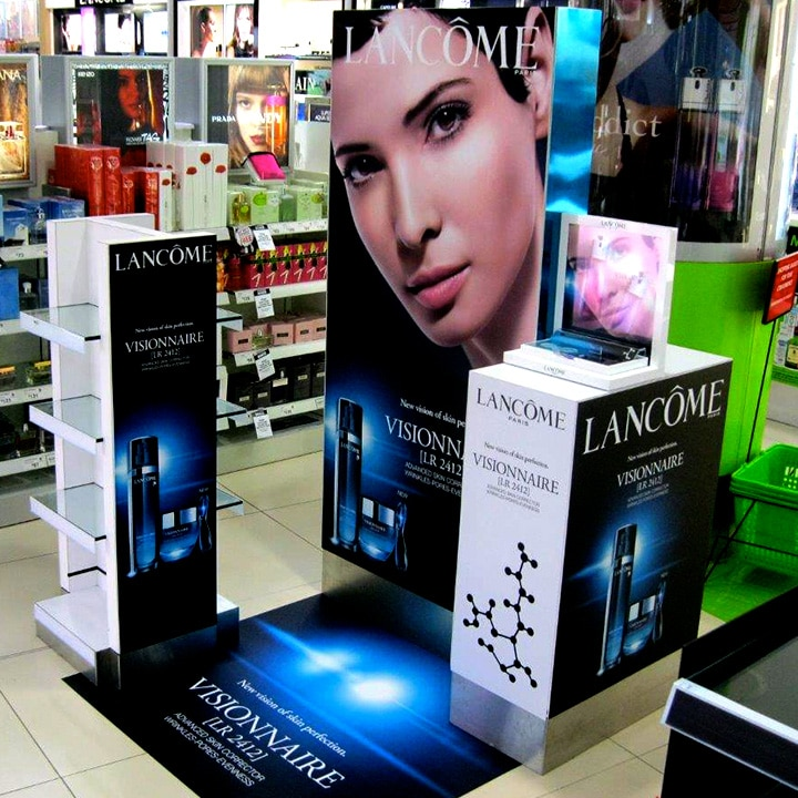 Perth Sign Installers: Lancome retail display boxes and floor graphic, Perth, Western Australia