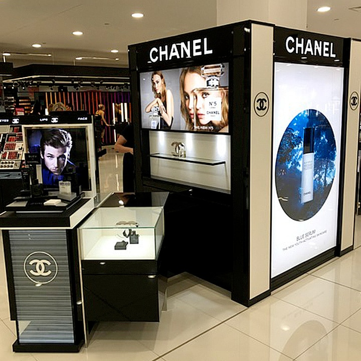Perth Sign Installers: Chanel retail signage, Myer Garden City, Booragoon, Western Australia