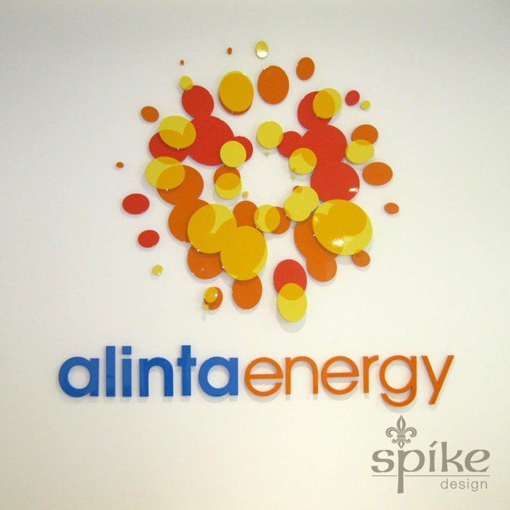 Perth Sign Installers: Alinta Energy Office Graphics, Reception Logo Signage, Perth, Western Australia