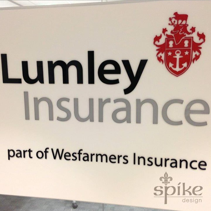 Perth Sign Installers: Lumley Insurance Office Graphics, Reception Logo Signage, Perth, Western Australia