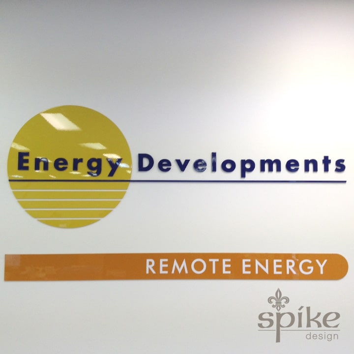 Perth Sign Installers: Energy Developments Office Graphics, Reception Logo Signage, Perth, Western Australia