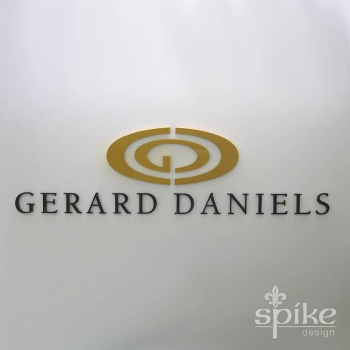 Perth Sign Installers: Gerard Daniels Office Graphics, Reception Logo Signage, Perth, Western Australia